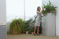 Office worker watering potted plants by office window