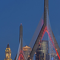 Boston skyline photography from New England and Boston based fine art photographer Juergen Roth showing historic and modern architecture landmarks such as the Custom House of Boston, Leonard P. Zakim Bunker Hill Memorial Bridge, One International Place and the TD Bank North Garden home to the Boston Bruins and Celtics captured on a beautiful twilight night. <br /> <br /> This Boston photo image is available as museum quality photography prints, canvas prints, acrylic prints or metal prints. Prints may be framed and matted to the individual liking and decorating needs:<br /> <br /> http://juergen-roth.artistwebsites.com/featured/before-midnight-juergen-roth.html<br /> <br /> All photographs are available for digital and print use at www.ExploringTheLight.com. Please contact me direct with any questions or request.<br /> <br /> Good light and happy photo making!<br /> <br /> My best,<br /> <br /> Juergen<br /> www.RothGalleries.com<br /> www.ExploringTheLight.com<br /> http://whereintheworldisjuergen.blogspot.com<br /> @NatureFineArt<br /> https://www.facebook.com/naturefineart