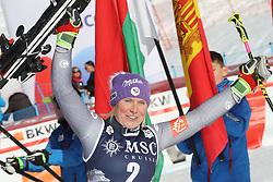 27.01.2018, Lenzerheide, SUI, FIS Weltcup Ski Alpin, Lenzerheide, Riesenslalom, Damen, Flower Zeremonie, im Bild Tessa Worley (FRA) // Tessa Worley of France during the Flowers ceremony for the ladie's Giant Slalom of FIS Ski Alpine World Cup in Lenzerheide, Austria on 2018/01/27. EXPA Pictures &copy; 2018, PhotoCredit: EXPA/ Sammy Minkoff<br /> <br /> *****ATTENTION - OUT of GER*****