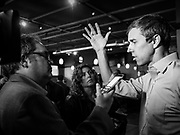 04 APRIL 2019 - CARROLL, IOWA:  BETO O'ROURKE talks to reporters after a meet and greet campaign event in Carroll, IA. Beto O'Rourke stopped at Kerps Tavern in Carroll to campaign for president Thursday. He is crisscrossing Iowa through the weekend with stops throughout the state. Iowa holds its caucuses, considered the kickoff of the US Presidential campaign, on Feb. 3, 2020.    PHOTO BY JACK KURTZ