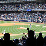 A general view to a packed Yankee Stadium during the New York Yankees opening day of the Major League Baseball 2013 season during the New York Yankees V Boston Red Sox American League East baseball game at Yankee Stadium, The Bronx, New York. USA, 1st April 2013. Photo Tim Clayton