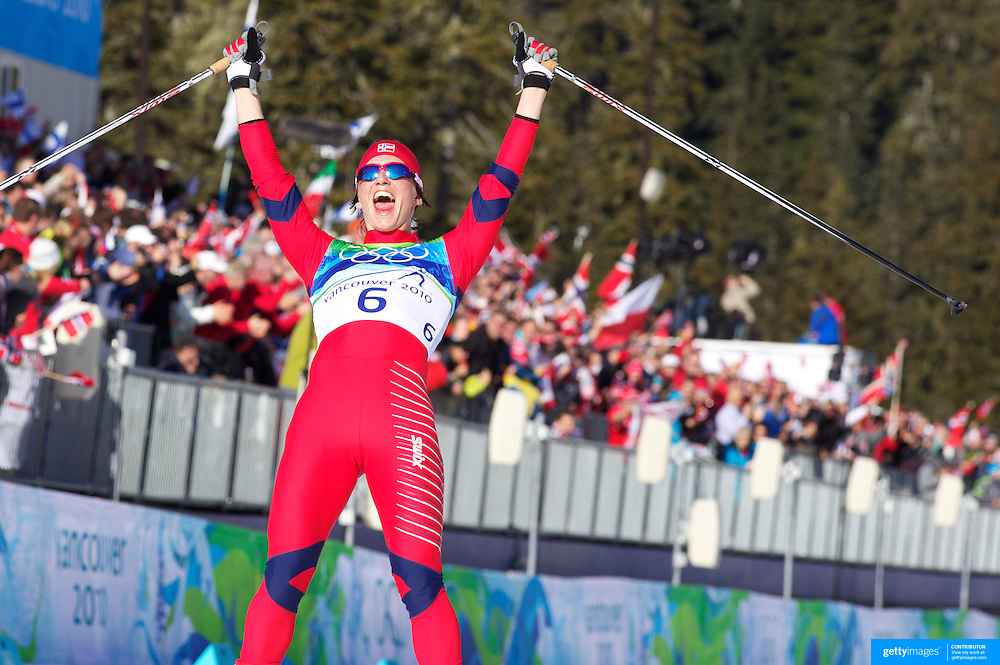 Winter Olympics, Vancouver, 2010. Marit Bjoergen, Norway, winning Gold in the Ladies 15km Pursuit  at Whistler Olympic Park, Whistler, during the Vancouver Winter Olympics. 19th February 2010. Photo Tim Clayton