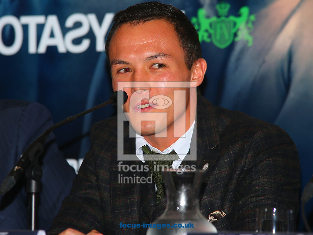 Josh Warrington during the press conference prior to the Warrington v Ceylan IBF Featherweight World title eliminator contest at Aspire, Leeds, UK.<br /> Picture by Stephen Gaunt/Focus Images Ltd +447904 833202<br /> 04/09/2017