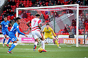 Doncaster Rovers forward Mallik Wilks bears down on goal during the EFL Sky Bet League 1 match between Doncaster Rovers and Peterborough United at the Keepmoat Stadium, Doncaster, England on 9 February 2019.