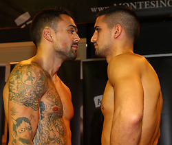 01.11.2012, Gasometer, Wien, AUT, EU Meisterschaft im Mittelgewicht, Roberto Santos (ESP) vs Marcos Nader (AUT), im Bild Roberto Santos und Marcos Nader Face to Face // during weighing for the EU Championship boxing fight in middleweight between Roberto Santos (ESP) and Marcos Nader (AUT) at the Gasometer, Vienna, Austria on 2012/11/01. EXPA Pictures © 2012, PhotoCredit: EXPA/ Thomas Haumer