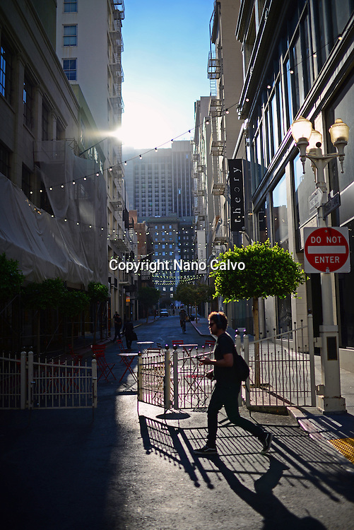Man walking in commercial streets off Union Square.