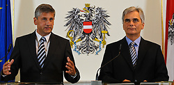 30.08.2011, Bundeskanzleramt, Wien, AUT, Ministerrat, im Bild Außenminister und Vizekanzler Michael Spindelegger und Bundeskanzler Werner Faymann // during the council of ministers, Office of the Federal Chancellor, Vienna, 2011-08-30, EXPA Pictures © 2011, PhotoCredit: EXPA/ M. Gruber