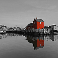 This selective color B&amp;W New England photography image of Rockport Motif #1 is available as museum quality photography prints, canvas prints, acrylic prints or metal prints. Prints may be framed and matted to the individual liking and decorating needs: <br />