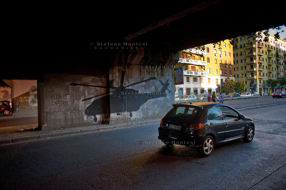 Roma 28 Agosto 2014<br /> Quartiere Ostiense, murales sotto il ponte ferroviario in via Ostiense