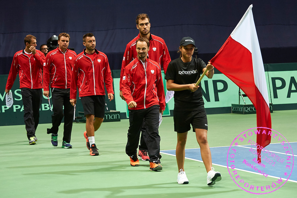 (L-R) Lukasz Kubot and Marcin Matkowski and Michal Przysiezny and Jerzy Janowicz and Radoslaw Szymanik - captain national team all from Poland while opening ceremony during Davis Cup Tie World Group Play-off Poland v Slovakia at Gdynia Arena Hall in Gdynia, Poland.<br /> <br /> Poland, Gdynia, September 18, 2015<br /> <br /> Picture also available in RAW (NEF) or TIFF format on special request.<br /> <br /> For editorial use only. Any commercial or promotional use requires permission.<br /> <br /> Adam Nurkiewicz declares that he has no rights to the image of people at the photographs of his authorship.<br /> <br /> Mandatory credit:<br /> Photo by &copy; Adam Nurkiewicz / Mediasport
