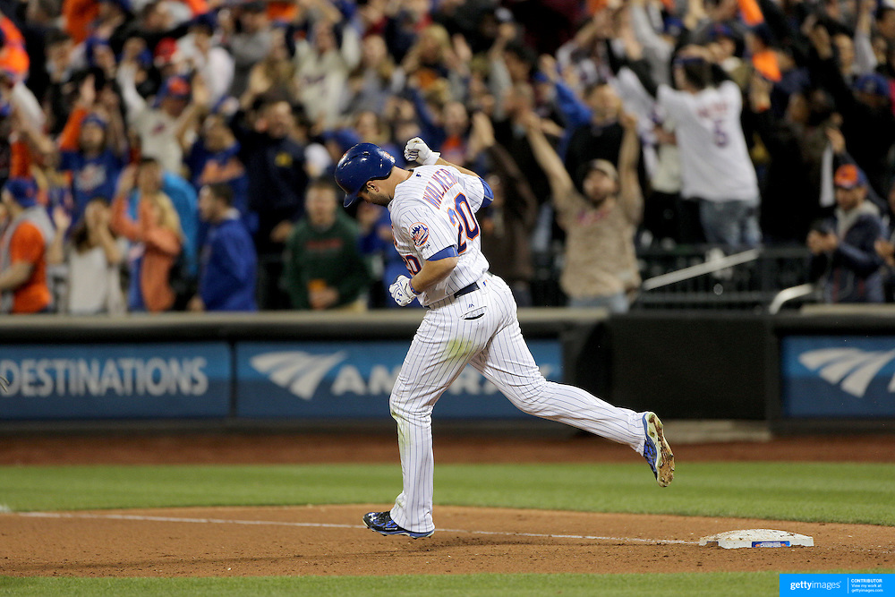 NEW YORK, NEW YORK - APRIL 25: Neil Walker #20 of the New York Mets celebrates as he rounds the bases after hitting a two run home run in the seventh inning during the New York Mets Vs Cincinnati Reds MLB regular season game at Citi Field on April 25, 2016 in New York City. (Photo by Tim Clayton/Corbis via Getty Images)