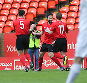 Dale Robertson (centre) celebrates after opening the scoring as Tayport (red) beat North End (white) 4-1 in the GA Engineering Cup Final at Tannadice<br /> <br />  - &copy; David Young - www.davidyoungphoto.co.uk - email: davidyoungphoto@gmail.com