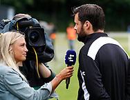 FODBOLD: Cheftræner Christian Lønstrup (FC Helsingør) giver interview til Eurosport før kampen i ALKA Superligaen mellem Hobro IK og FC Helsingør den 16. juli 2017 på DS Arena i Hobro. Foto: Claus Birch