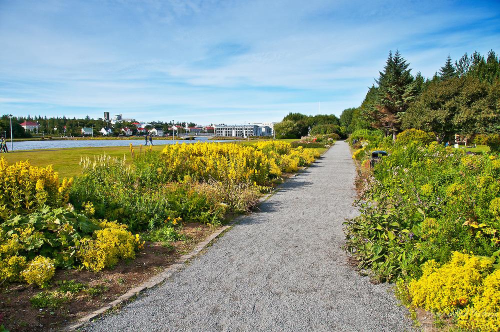 The Pavilion Garden, in Reykjavik, Iceland, is on one side  of the famous Tjornin pond.