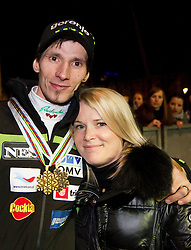 Robert Kranjec with his wife Spela during reception of Slovenian Ski jumping team after they get bronze team medal and R. Kranjec became World Champion at FIS Ski Flying World Championships 2012 in Vikersund, Norway, on February 28, 2012 in Kongresni try, Ljubljana, Slovenia.  (Photo By Vid Ponikvar / Sportida.com)