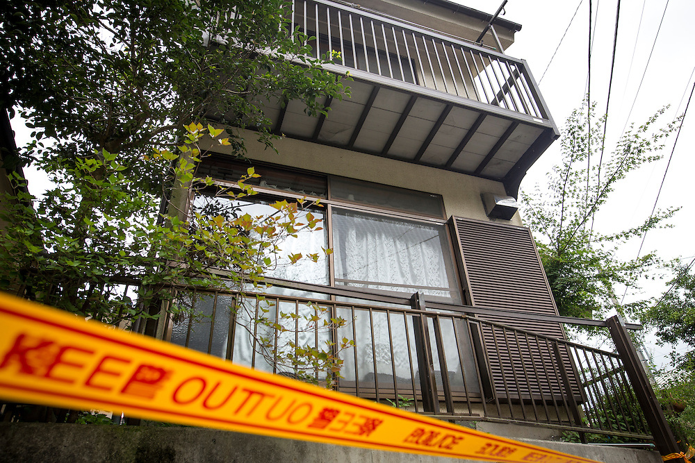 SAGAMIHARA, JAPAN - JULY 27 :  Police line is seen outside the house of Satoshi Uematsu, the suspect in a mass stabbing attack, for the Police investigators to search his house at Sagamihara on Wednesday, July 27, 2016 in Kanagawa prefecture, Japan. Police arrested 26 year old Satoshi Uematsu after breaking inside the building facility for handicapped and killing 19 people and injuring 20 in the city of Sagamihara, west of Tokyo. (Photo: Richard Atrero de Guzman/NURPhoto)