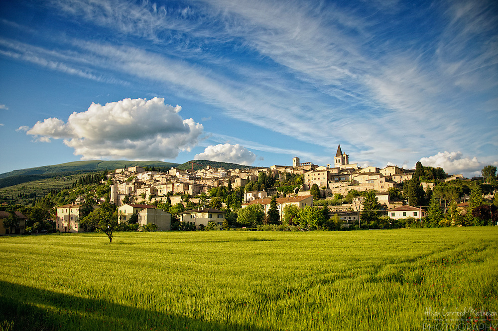 The hilltop town of Spello in Umbria, Italy, bathed in golden light