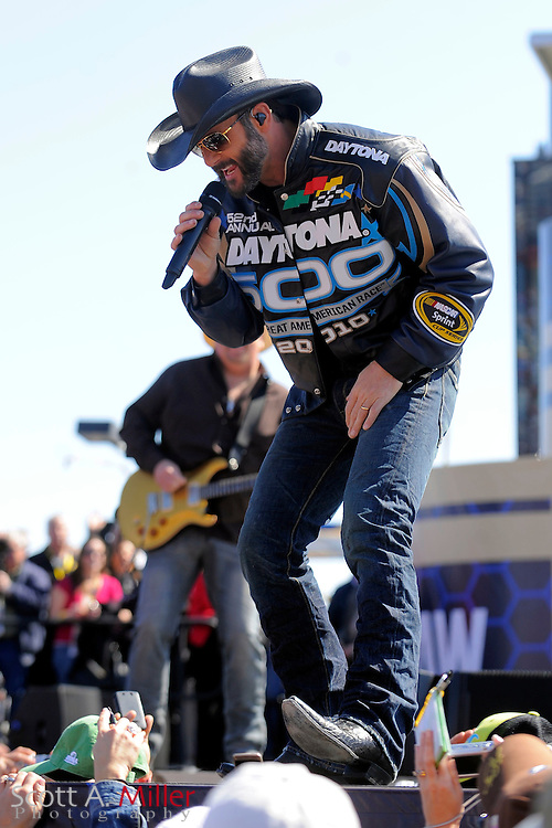 Daytona Beach, FL, USA; Tim McGraw gives a brief concert prior to the Daytona 500 at Daytona International Speedway on Feb. 14, 2010..©2010 Scott A. Miller