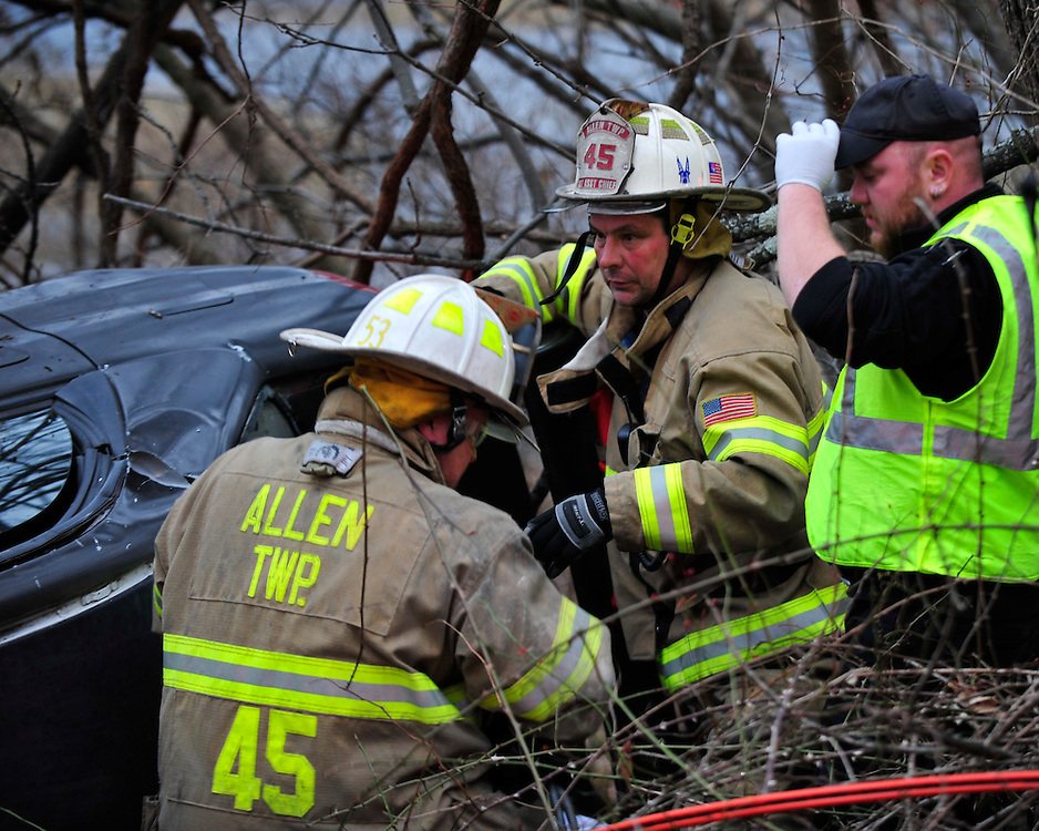 Rescue crews were called to West 27th Street near Spring Hill Road for a reported roll-over car crash with entrapment on Dec. 28th, 2014, in Allen Township. (Chris Post   lehighvalleylive.com)