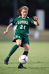 Loyola Greyhounds midfielder Colleen Kinealy (21) in action against UVA.  The #6 Virginia Cavaliers defeated the Loyola College Greyhounds 4-0 in a NCAA Women's Soccer game held at Klockner Stadium on the Grounds of the University of Virginia in Charlottesville, VA on August 22, 2008.