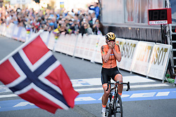 Chantal Blaak solos into the rainbow jersey at UCI Road World Championships Elite Women's Road Race 2017 in Bergen, Norway on September 23, 2017. (Photo by Sean Robinson/Velofocus)
