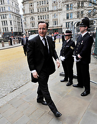 © Licensed to London News Pictures. 17 April 2013. St Paul's Cathedral London. PM David Cameron arrives.  Funeral of Baroness Thatcher, former Conservative Prime Minister. Photo credit : MarkHemsworth/LNP