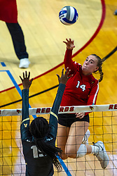 BLOOMINGTON, IL - September 14: Sarah Kushner strikes to Kristina Fisher during a college Women's volleyball match between the ISU Redbirds and the University of Central Florida (UCF) Knights on September 14 2019 at Illinois State University in Normal, IL. (Photo by Alan Look)