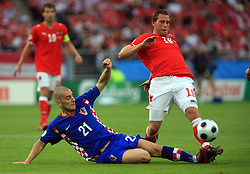 Mladen Petric of Croatia and Jurgen Saumel of Austria during the UEFA EURO 2008 Group B soccer match between Austria and Croatia at Ernst-Happel Stadium, on June 8,2008, in Vienna, Austria.  (Photo by Vid Ponikvar / Sportal Images)
