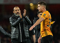 Football - 2019 / 2020 Premier League - Arsenal vs. Wolverhampton Wanderers<br /> <br /> Nuno Esoirito Santo, Manager of Wolverhampton Wanderers,  applauds the travelling fans at The Emirates Stadium.<br /> <br /> COLORSPORT/DANIEL BEARHAM