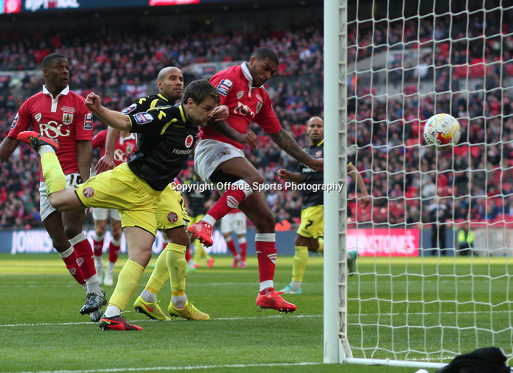 22 March 2015 - Johnstones Paint Trophy Final - Bristol City v Walsall - Mark Little scores the second goal for Bristol City.<br /> <br /> Photo: Ryan Smyth/Offside