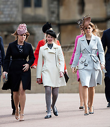 WINDSOR - UK - 27th Mar 2016: HM Queen Elizabeth, accompanied by HRH The Duke , The Duke and members of the royal family attends the annual Easter Sunday service at St George's Chapel in the grounds of Windsor Castle.<br /> <br />  Princess Eugenie, Autumn Phillips, Lady Louise, Peter Phillips, Princess Beatrice.<br /> Photograph by Ian Jones.