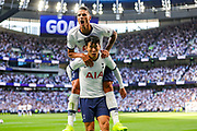 Goal Tottenham Hotspur forward Heung-Min Son (7) scores a goal and celebrates 1-0 during the Premier League match between Tottenham Hotspur and Crystal Palace at Tottenham Hotspur Stadium, London, United Kingdom on 14 September 2019.