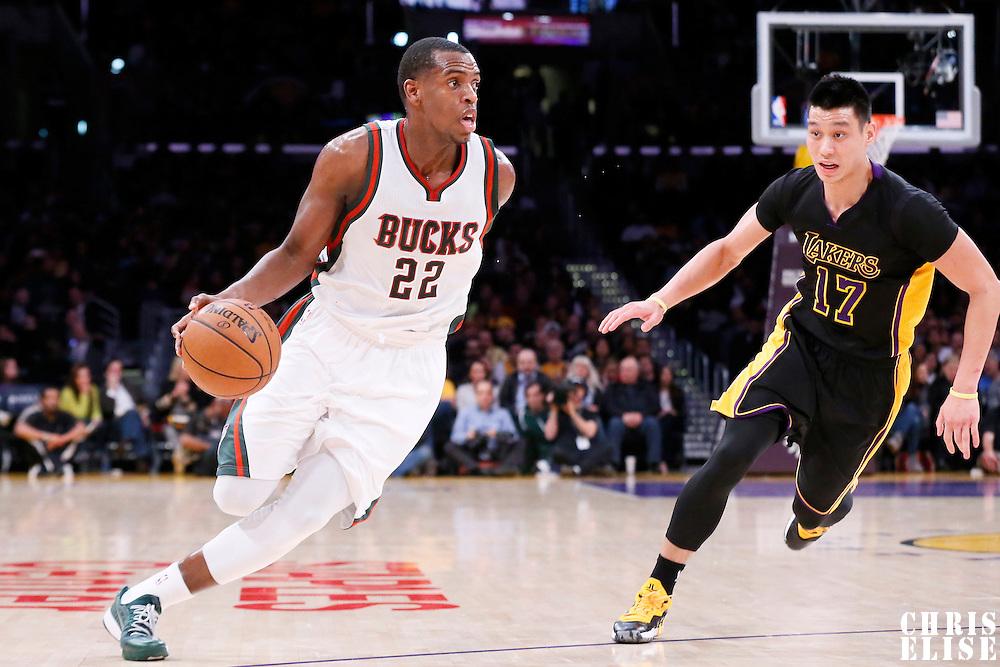 27 February 2015: Milwaukee Bucks guard Khris Middleton (22) drives past Los Angeles Lakers guard Jeremy Lin (17) during the Los Angeles Lakers 101-93 victory over the Milwaukee Bucks, at the Staples Center, Los Angeles, California, USA.