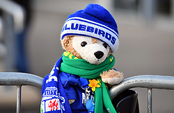 Close up of a teddy bear in Cardiff City attire outside the ground before the game during the Premier League match at the Cardiff City Stadium.