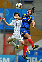 01.08.2010, , Bielefeld, GER, FIFA U-20 Frauen Worldcup, Kolumbien vs Korea, im Bild KWON Eun Som (KOR #7) im Kopfballduell mit Yorely RINCON (Liga Bogota COL #10), EXPA Pictures © 2010, PhotoCredit: EXPA/ nph/  Roth+++++ ATTENTION - OUT OF GER +++++ / SPORTIDA PHOTO AGENCY