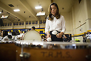 Renee Nario, Russell Middle School 7th grade, plays the Timpani during the Milpitas Unified School District's 11th Annual Music Festival at Milpitas High School in Milpitas, California, on April 10, 2014. (Stan Olszewski/SOSKIphoto)