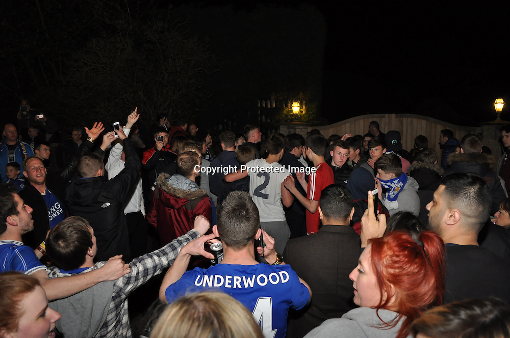 Crowds outside Jamie Vardy's house in Melton Mowbray after Leicester Won the league.<br /> &copy;Exclusivepix Media