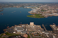 Aerial photo of CNX Rukert Terminal  at the Port of Baltimore with Fort McHenry in background.