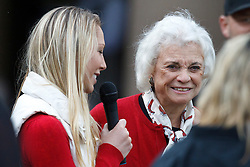 October 23, 2010; Stanford, CA, USA;  Stanford Cardinal alumna and former supreme court justice Sandra Day O'Connor (right) is interviewed during the second quarter of the game against the Washington State Cougars at Stanford Stadium.
