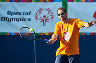 """Petros """"Pete"""" Sampras a retired American tennis player (14 Grand Slam singles titles) in action while Unified Tennis Experience during sixth day of the Special Olympics World Games Los Angeles 2015 on July 30, 2015 at Tennis Centre on UCLA (University of California Los Angeles) in Los Angeles, USA.<br /> <br /> USA, Los Angeles, July 30, 2015<br /> <br /> Picture also available in RAW (NEF) or TIFF format on special request.<br /> <br /> For editorial use only. Any commercial or promotional use requires permission.<br /> <br /> Adam Nurkiewicz declares that he has no rights to the image of people at the photographs of his authorship.<br /> <br /> Mandatory credit:<br /> Photo by © Adam Nurkiewicz / Mediasport"""