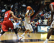 """Ole Miss' Dundrecous Nelson (5) vs. Louisiana-Lafayette at C.M. """"Tad"""" Smith Coliseum in Oxford, Miss. on Wednesday, December 14, 2011. (AP Photo/Oxford Eagle, Bruce Newman)"""