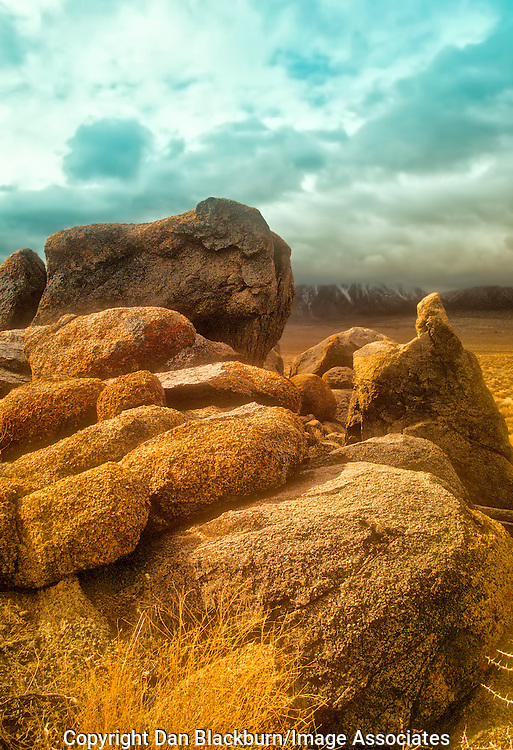 Stormy Winter Sky Over Rock Formation in the Alabama Hills, Eastern Sierra, California