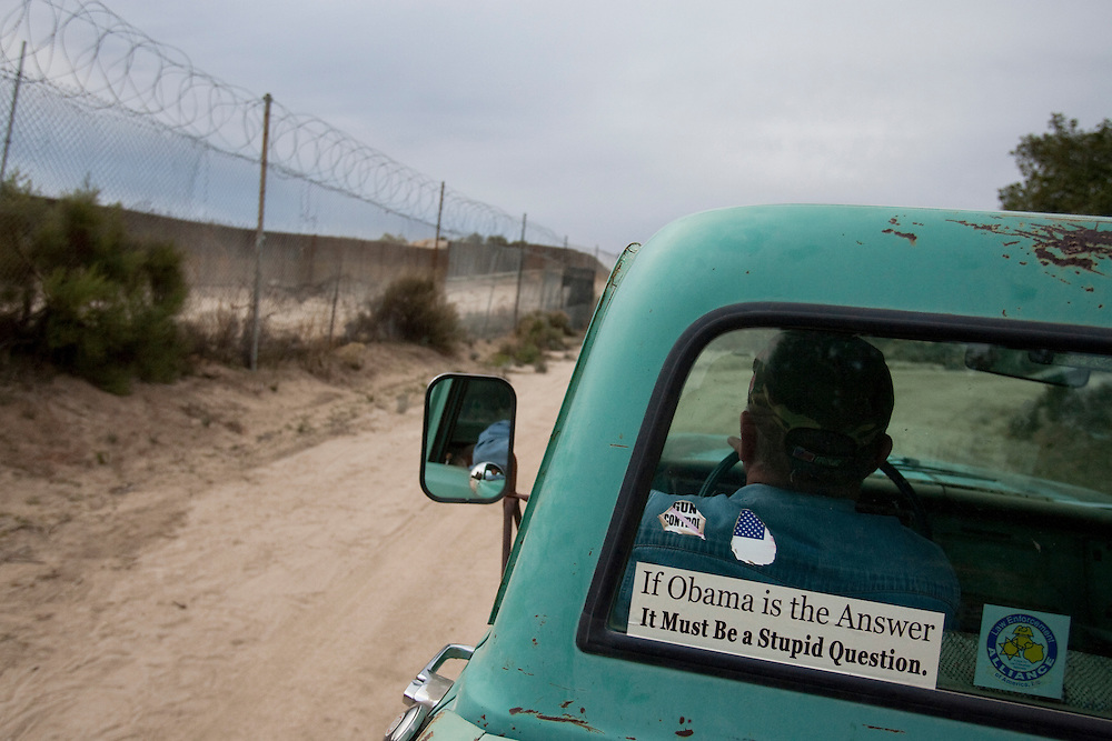 Bob Maupin has lived on the U.S./Mexico border for over 60 years in eastern San Diego County. His fence abuts Mexico and is often used by migrant and drug smugglers to illegally enter the United States. Much of Bob's day, including Inauguration Day on January 20, 2009, is devoted to checking his fence and property for signs of illegal entry. Please contact Todd Bigelow directly with your licensing requests.