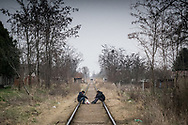 Migrants are seen resting on a railroad track not far from Subotica. The Hungarian border is about 10 km far. Subotica, Serbia. March 18th. Federico Scoppa/CAPTA