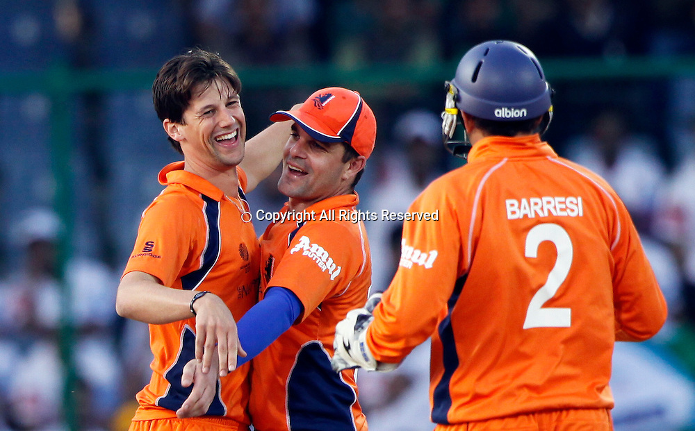 28.02.2011 Cricket World Cup from the Feroz Shah Kotla stadium in Delhi. West indies v Netherlands.Pieter Seelaar of Netherlands celebrates the wicket of Shivnarine Chanderpaul during the match of the ICC Cricket World Cup between Netherlands and West Indies on the 28th February 2011