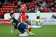 Southend United defender Ryan Leonard (18) tackles Walsall striker Amadou Bakayoko (20) 0-0 during the EFL Sky Bet League 1 match between Walsall and Southend United at the Banks's Stadium, Walsall, England on 28 October 2017. Photo by Alan Franklin.