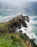 High-angle view of Byron Head, from the Lighthouse, near Byron Bay, NSW, Australia.