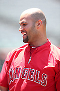 ANAHEIM, CA - JUNE 5:  Albert Pujols #5 of the Los Angeles Angels of Anaheim laughs during batting practice before the game against the Chicago Cubs on Wednesday, June 5, 2013 at Angel Stadium in Anaheim, California. The Cubs won the game 8-6 in ten innings. (Photo by Paul Spinelli/MLB Photos via Getty Images) *** Local Caption *** Albert Pujols
