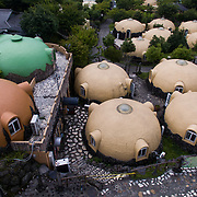 KUMAMOTO, JAPAN - JULY 31: Aerial view of Quake-proof dome houses in Aso Farm Land, Kumamoto prefecture, Japan, July 31, 2017. (Photo: Richard Atrero de Guzman/NUR Photo)