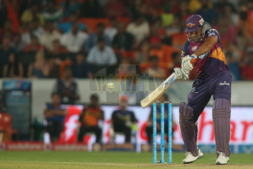 Rising Pune Supergiants captain MS Dhoni square cuts a delivery and is caught by Aditya Tare of Sunrisers Hyderabad during match 22 of the Vivo IPL 2016 (Indian Premier League) between the Sunrisers Hyderabad and the Rising Pune Supergiants held at the Rajiv Gandhi Intl. Cricket Stadium, Hyderabad on the 26th April 2016<br /> <br /> Photo by Shaun Roy / IPL/ SPORTZPICS